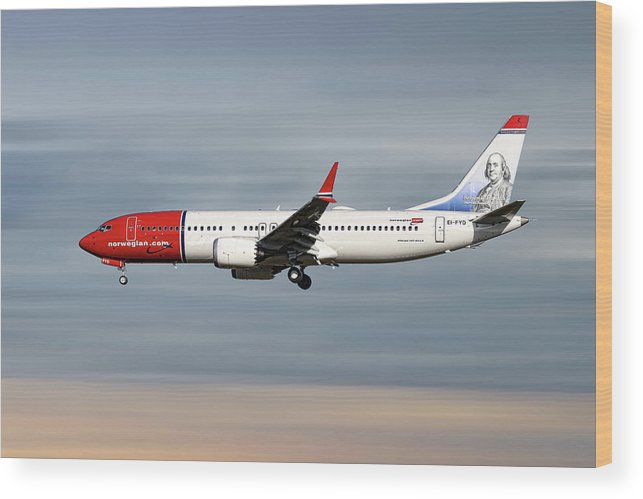 Norwegian Wood Print featuring the mixed media Norwegian Boeing 737 Max 8 by Smart Aviation