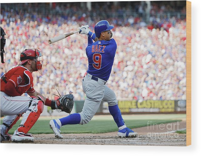 Great American Ball Park Wood Print featuring the photograph Chicago Cubs V Cincinnati Reds by Joe Robbins