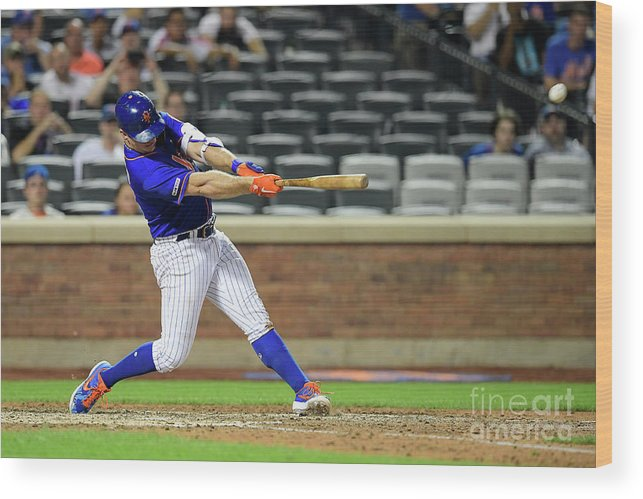 People Wood Print featuring the photograph Miami Marlins V New York Mets - Game Two by Steven Ryan