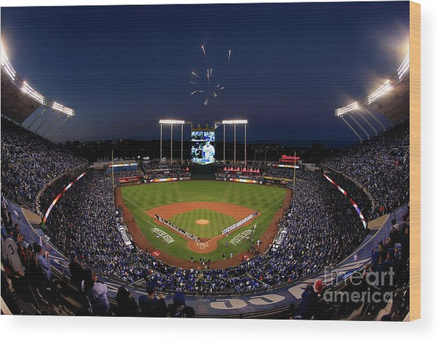 Firework Display Wood Print featuring the photograph Alcs - Baltimore Orioles V Kansas City by Jamie Squire