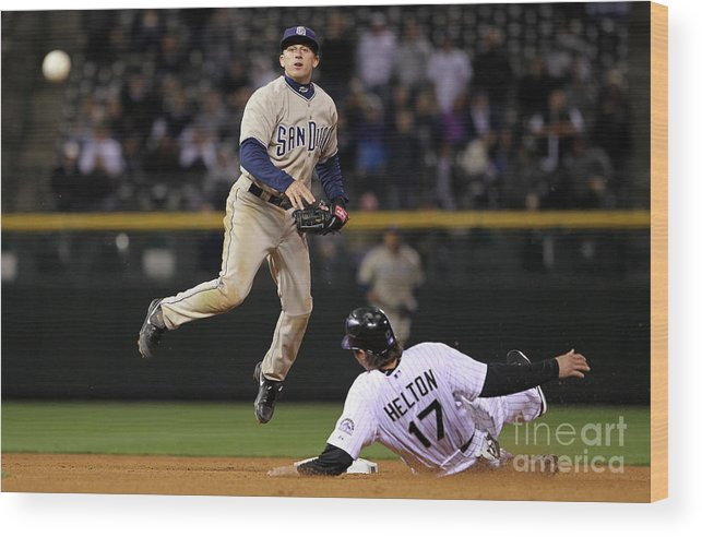 Double Play Wood Print featuring the photograph San Diego Padres V Colorado Rockies by Doug Pensinger