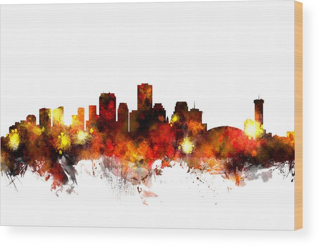 New Orleans Wood Print featuring the digital art New Orleans Louisiana Skyline by Michael Tompsett
