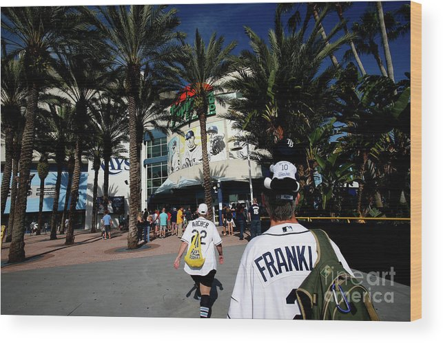 American League Baseball Wood Print featuring the photograph New York Yankees V Tampa Bay Rays by Brian Blanco