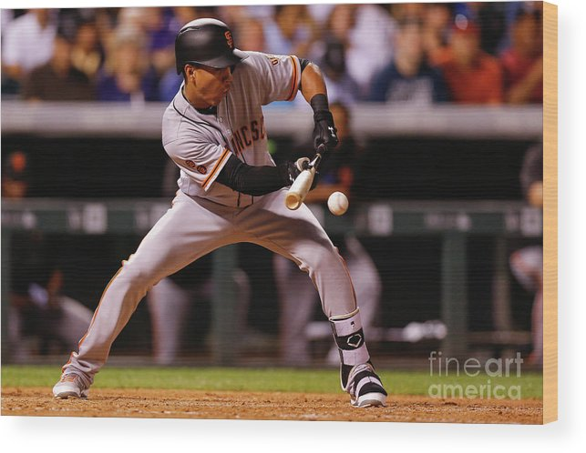 American League Baseball Wood Print featuring the photograph San Francisco Giants V Colorado Rockies 8 by Justin Edmonds