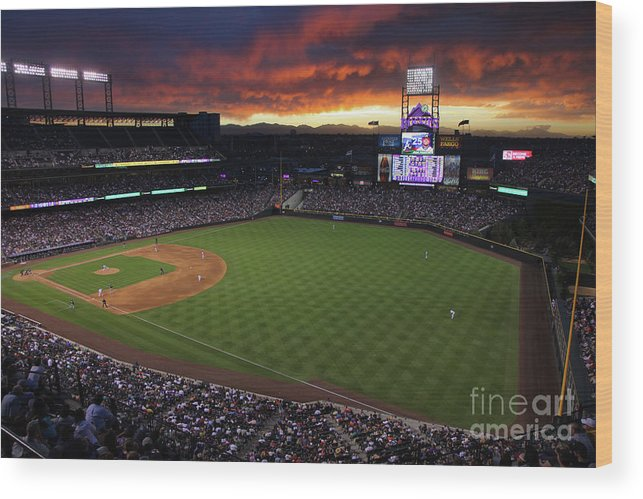 National League Baseball Wood Print featuring the photograph Atlanta Braves V Colorado Rockies 9 by Doug Pensinger