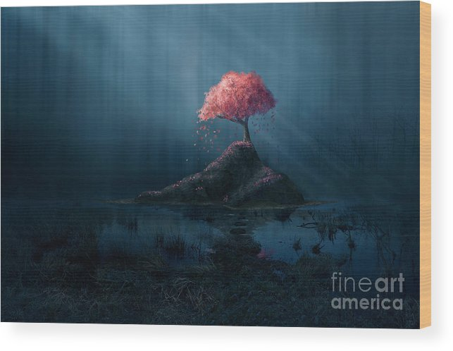 Beam Wood Print featuring the digital art A Single Pink Tree In A Dark Blue by Amanda Carden