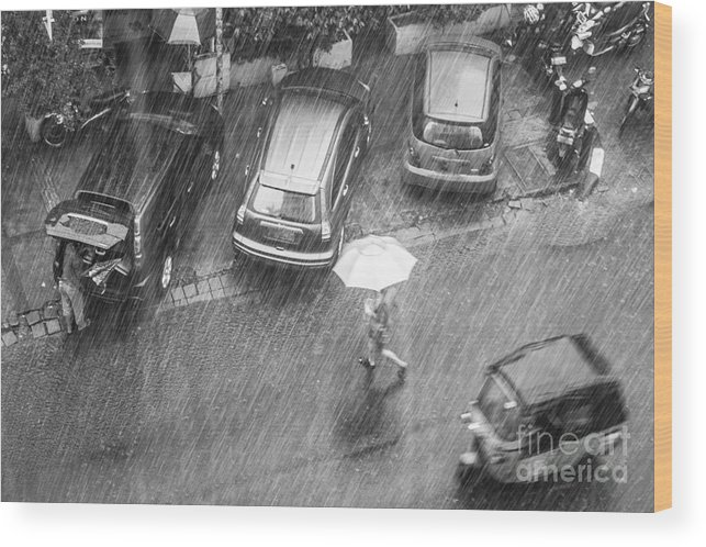Woman Wood Print featuring the photograph A Woman Rushes To Cross The Street by Asiatravel