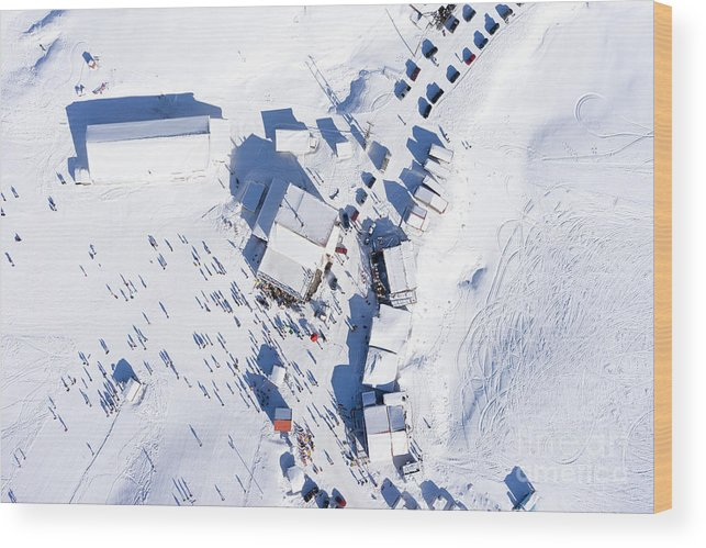 Range Wood Print featuring the photograph Aerial View Of Ski Resort Falakro, In by Ververidis Vasilis