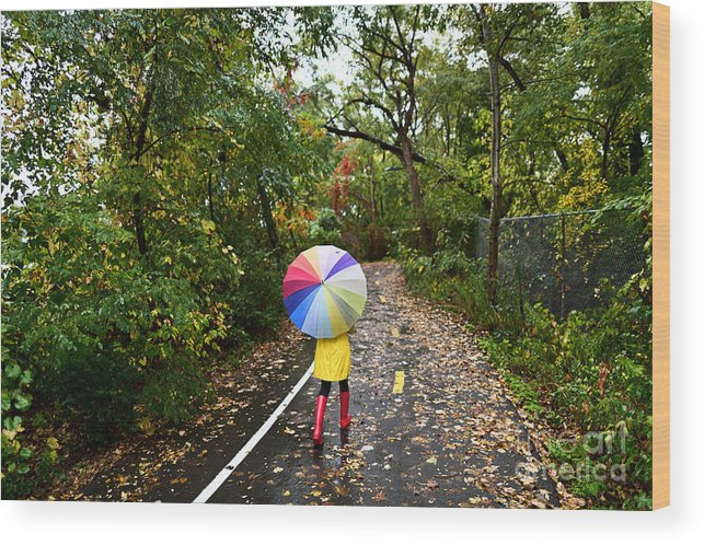 Beauty Wood Print featuring the photograph Autumn Fall Concept - Woman Walking In by Maridav