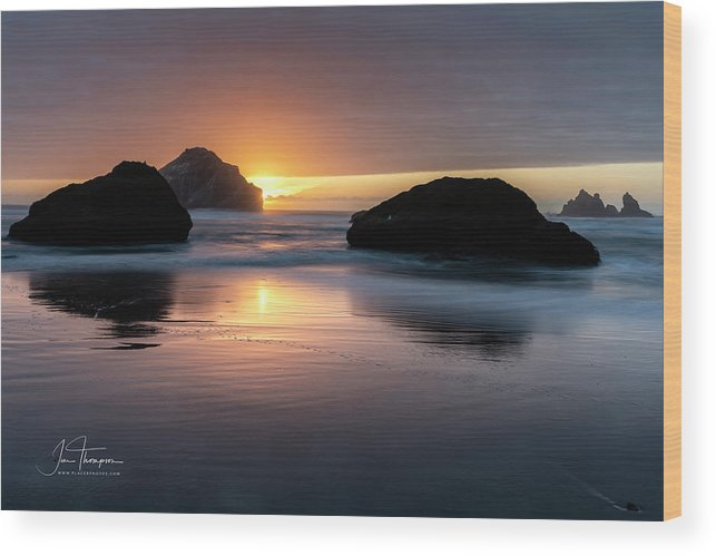 Bandon Beach Wood Print featuring the photograph Bandon Beach Sunset 5 by Jim Thompson