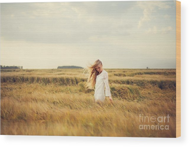 Woman Wood Print featuring the photograph Beautiful Blonde Walks Into The Field by Aleshyn andrei