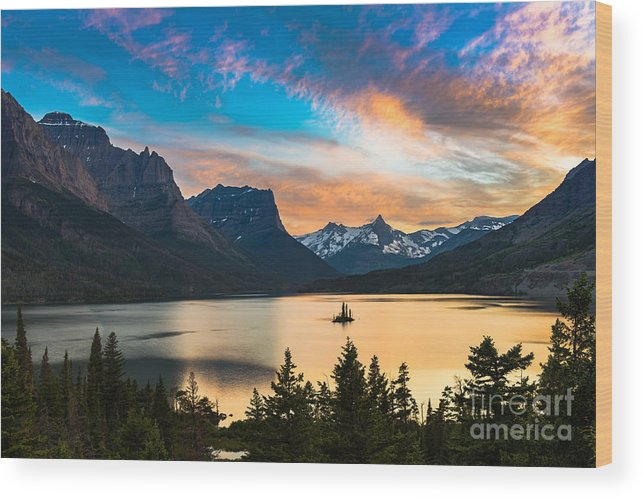 Forest Wood Print featuring the photograph Beautiful Colorful Sunset Over St. Mary by Pung