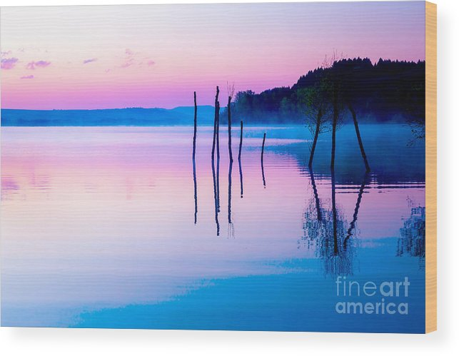 Magic Wood Print featuring the photograph Beautiful Landscape With A Lake And by Jozef Klopacka