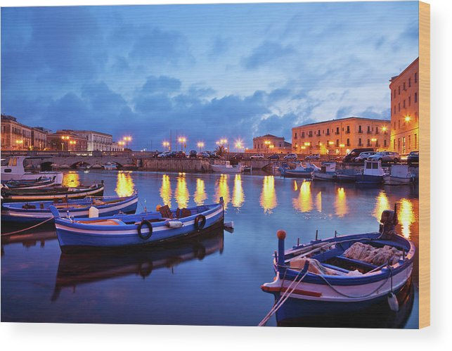 Sicily Wood Print featuring the photograph Boats In Sicily, Italy by Nikada