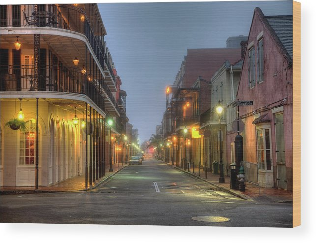 Built Structure Wood Print featuring the photograph Bourbon Street by Denistangneyjr