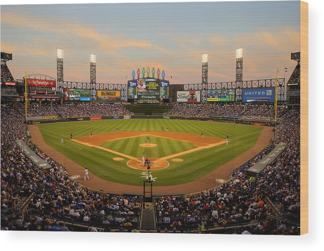 American League Baseball Wood Print featuring the photograph Chicago Cubs V Chicago White Sox by Ron Vesely