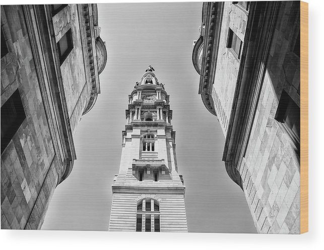 Black And White Wood Print featuring the photograph City Hall In Center City Philadelphia In Black And White by Bill Cannon