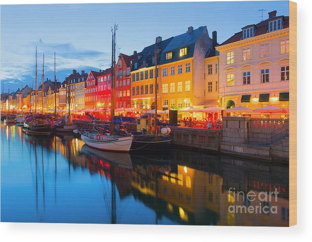 Sailboat Wood Print featuring the photograph Cityscape Of Copenhagen At A Summer by Sergiyn