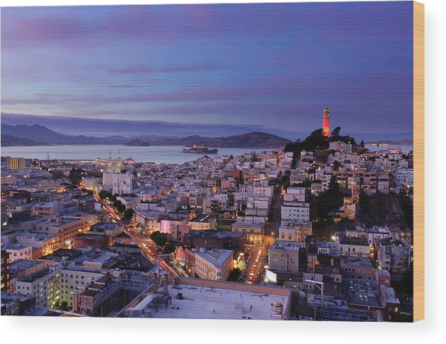 California Wood Print featuring the photograph Coit Tower And North Beach At Dusk by Photo By Brandon Doran