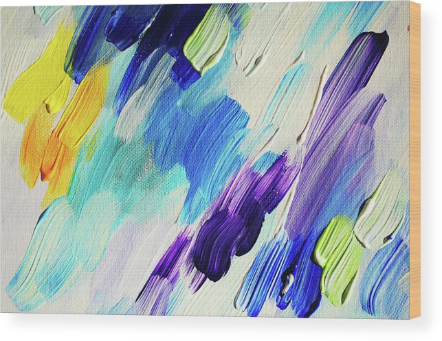 Jenny Rainbow Fine Art Photography Wood Print featuring the photograph Colorful Rain Fragment 1. Abstract Painting by Jenny Rainbow