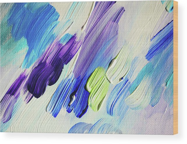 Jenny Rainbow Fine Art Photography Wood Print featuring the photograph Colorful Rain Fragment 2. Abstract Painting by Jenny Rainbow