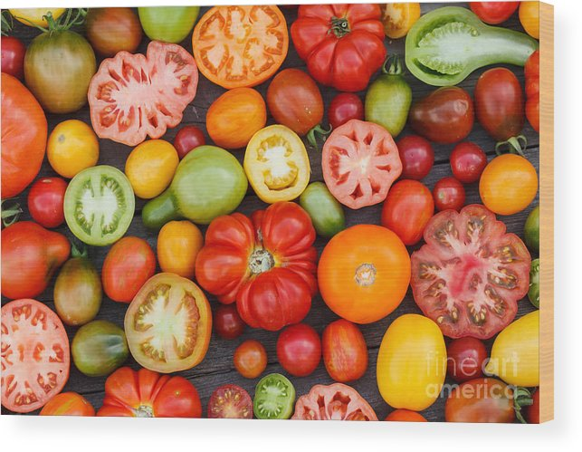 Cherry Wood Print featuring the photograph Colorful Tomatoes by Shebeko