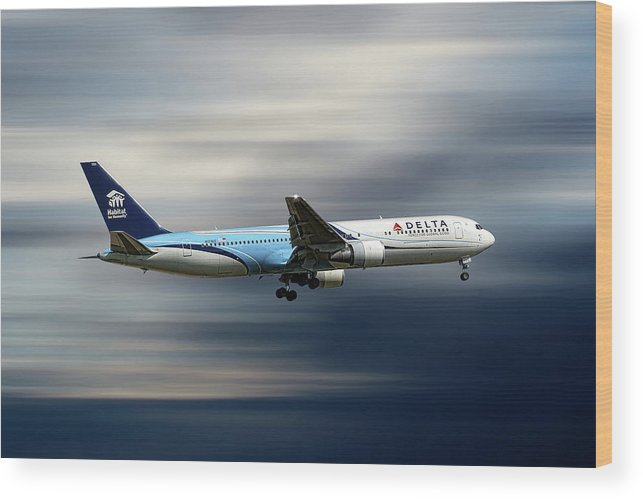 Delta Wood Print featuring the mixed media Delta Air Lines Boeing 767-332 by Smart Aviation