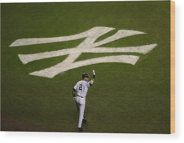 Game Two Wood Print featuring the photograph Derek Jeter Walks To The Plate by Jed Jacobsohn