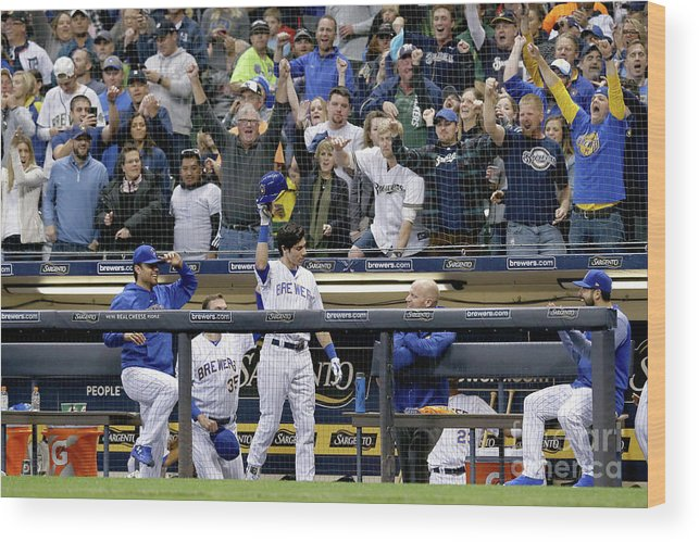 People Wood Print featuring the photograph Detroit Tigers V Milwaukee Brewers by Dylan Buell