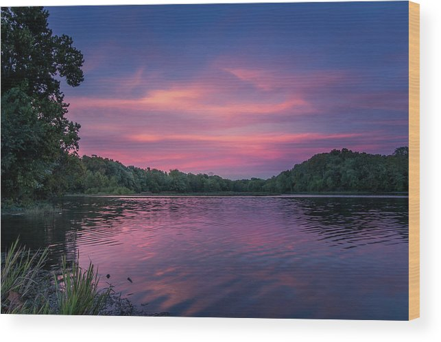 Lake Wood Print featuring the photograph Evening At Springfield Lake by Allin Sorenson