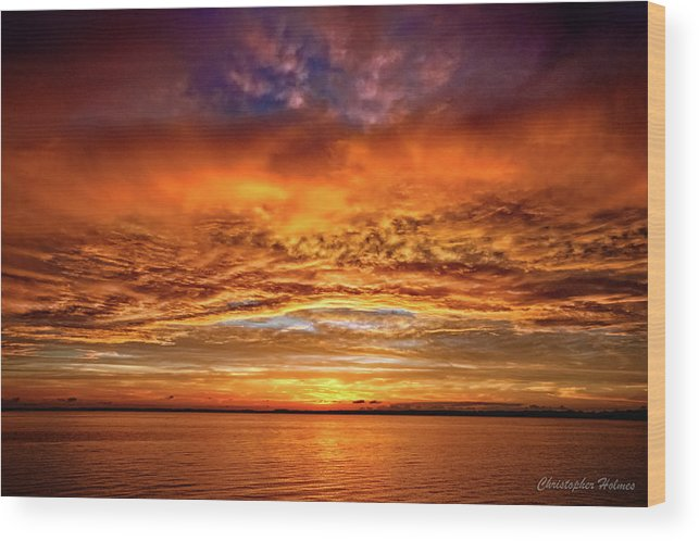 Sunset Wood Print featuring the photograph Fire Over Lake Eustis by Christopher Holmes