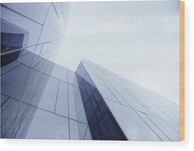 Architectural Feature Wood Print featuring the photograph Glass And Steel Office Building by Crossbrain66
