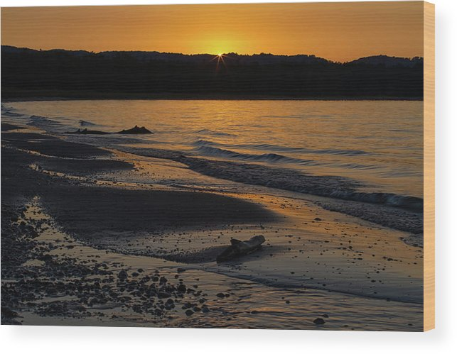 Sleeping Wood Print featuring the photograph Good Harbor Bay Sunset by Heather Kenward
