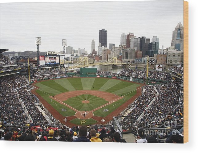 Crowd Wood Print featuring the photograph Houston Astros V Pittsburgh Pirates by John Grieshop