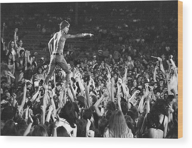 Crowd Wood Print featuring the photograph Iggy Pop Live by Tom Copi