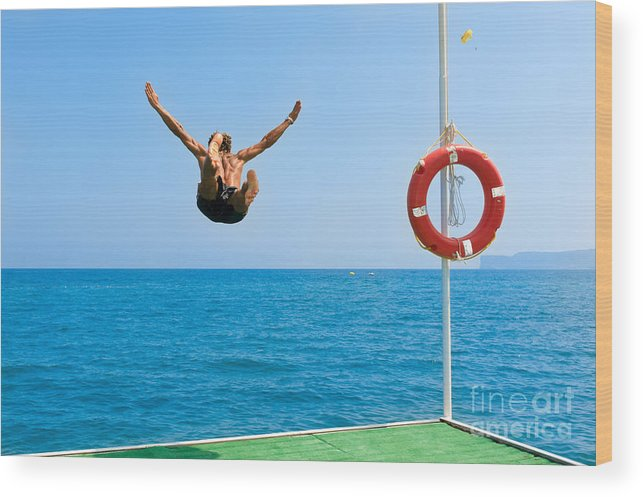 Muscular Wood Print featuring the photograph Jump In The Blue Sea by Andrew Buckin