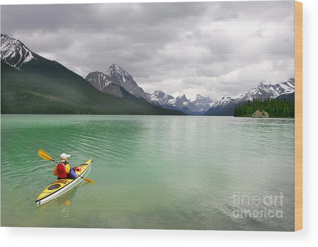 Deep Wood Print featuring the photograph Kayaking In Banff National Park, Canada by Oksana.perkins