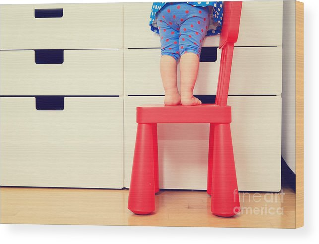 Play Wood Print featuring the photograph Kids Safety Concept- Little Girl by Nadyaeugene