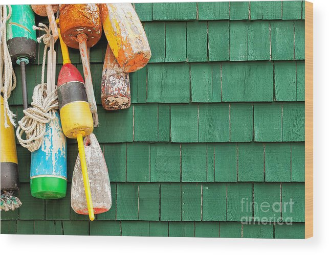Usa Wood Print featuring the photograph Lobster Buoys Hanging On A Green Wood by Cdrin