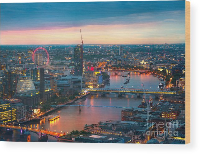 Capital Wood Print featuring the photograph London At Sunset, Panoramic View by Ir Stone