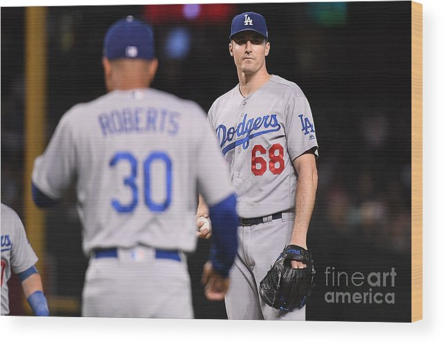Ross Stripling Wood Print featuring the photograph Los Angeles Dodgers V Arizona by Jennifer Stewart