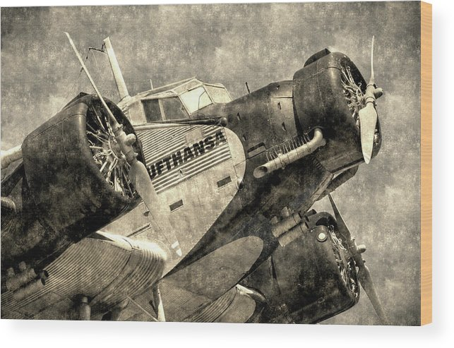 Ww2 Vintage Photo Wood Print featuring the photograph Lufthansa Junkers Ju 52 Vintage by David Pyatt