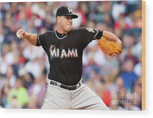 Three Quarter Length Wood Print featuring the photograph Miami Marlins V Cleveland Indians by Jason Miller
