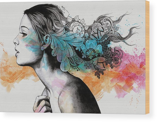 Doodles Wood Print featuring the drawing Moral Eclipse II - Portrait Of Woman With Doodles Sketch by Marco Paludet