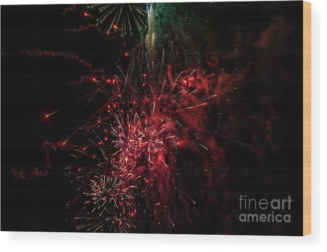 Fourth Of July Wood Print featuring the photograph Mostly Red And White Fireworks by Sue Smith