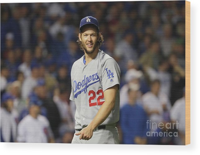 Game Two Wood Print featuring the photograph Nlcs - Los Angeles Dodgers V Chicago by Jamie Squire