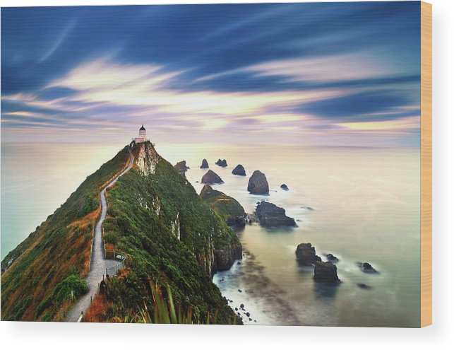 Nugget Point Lighthouse At Dawn, Catlins Wood Print