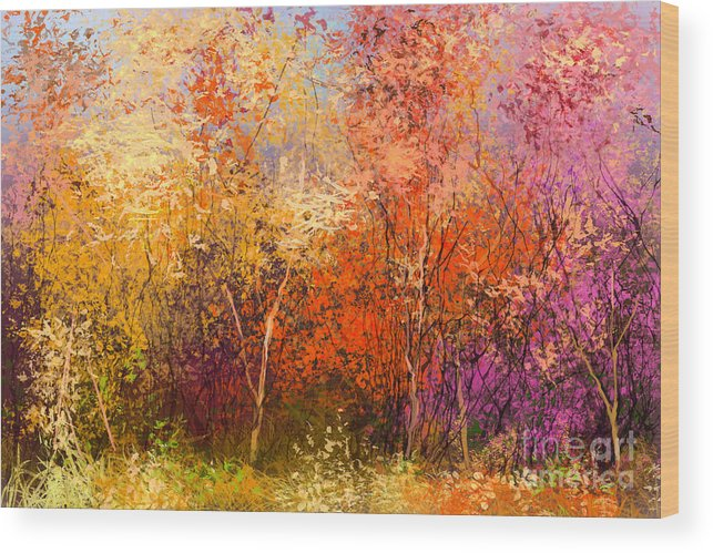 Paint Wood Print featuring the digital art Oil Painting Landscape - Colorful by Pluie r