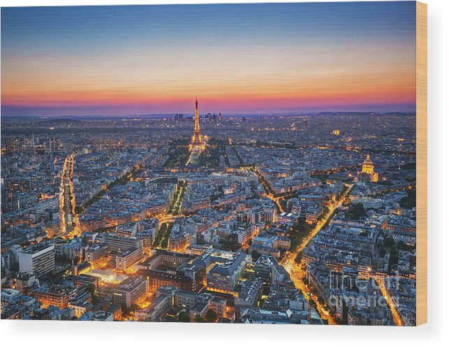 Symbol Wood Print featuring the photograph Paris, France At Sunset. Aerial View On by Photocreo Michal Bednarek
