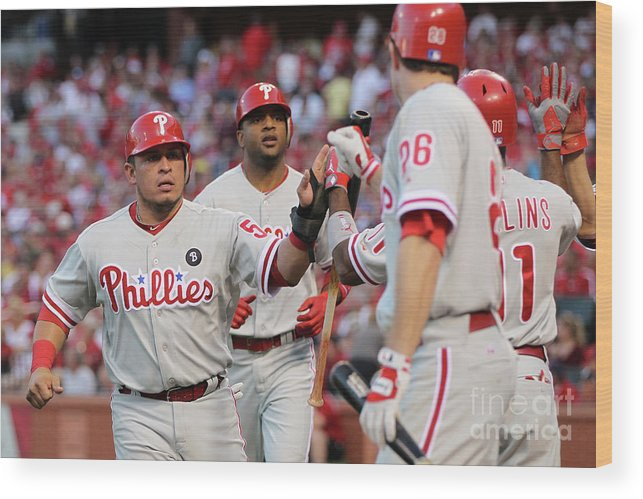 Carlos Ruiz Wood Print featuring the photograph Philadelphia Phillies V St Louis by Jamie Squire